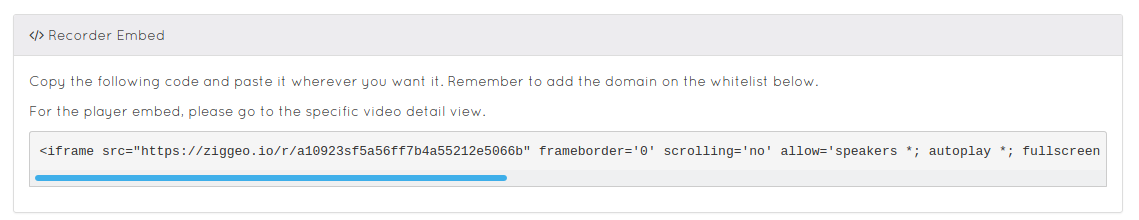 Iframe and oEmbed recorder code