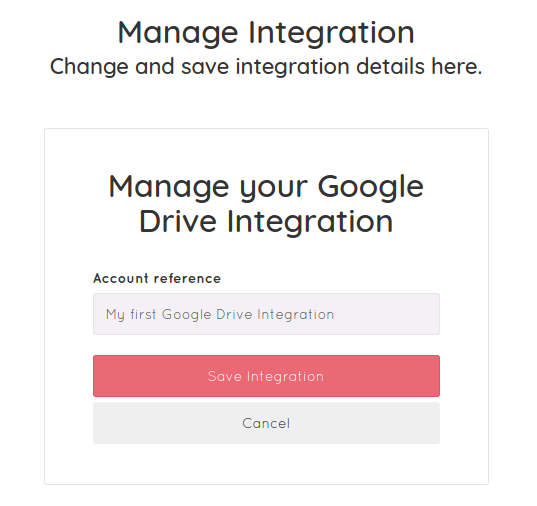 Name your Google Drive integration