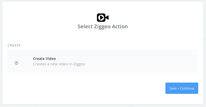 Select the action within your Ziggeo app