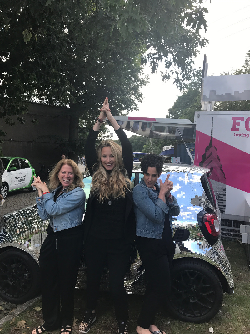 Posing like Charlie's Angels, Susan Danziger, Ziggeo's founder, has a blast at TOA