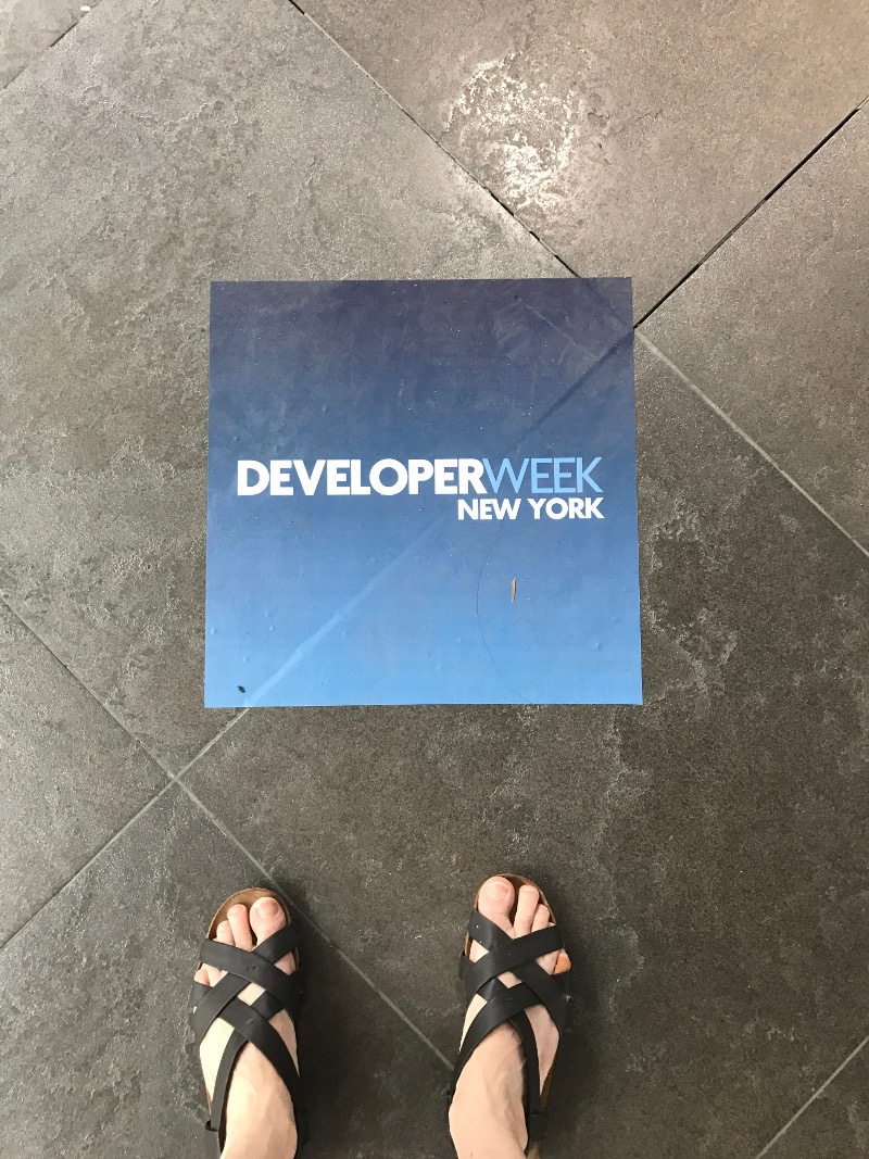 Founder's feet at Developer Week (almost rhymes!)