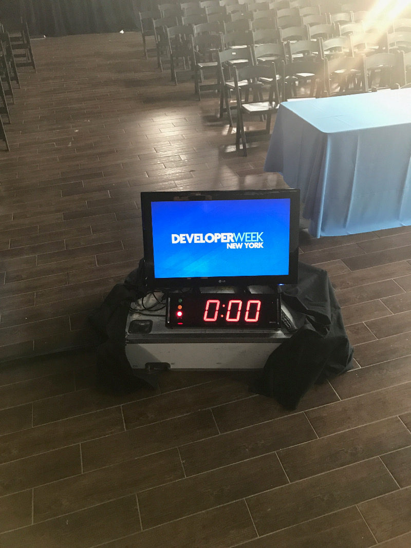 That's the countdown clock seen by speakers. Since our founder was on the floor interacting with the audience, she missed watching it (although she did finish on time).