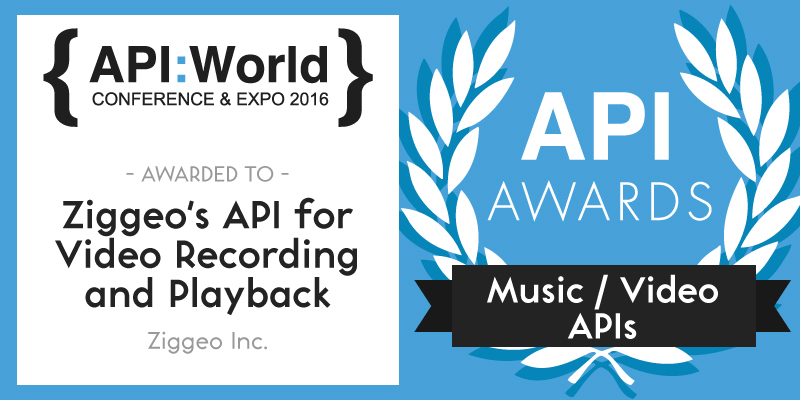 Ziggeo won the API:World 2016 Award for its API for Video Recording and Playback.